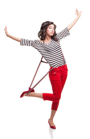 capri pants: beautiful lady with blue eyes open her arms and looking at camera on white background