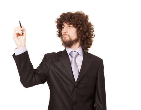 young businessman holding a pen isolated on white background.hand is in focus Stock Photo - 18616956