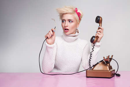 broken telephone: silly secretary finds out why phone not working