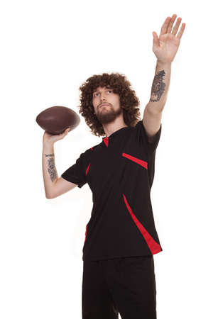 arm tattoo: player with afro style hair ready to throw the ball isolated on white background