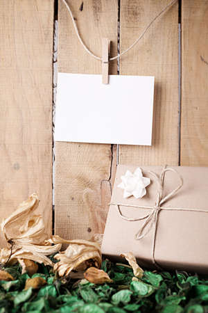 wrapped gift box on the foliage in front of a wooden wall