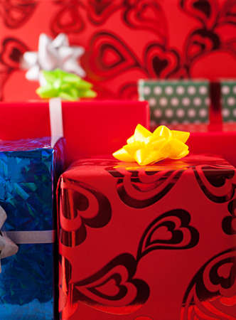 background with a lot of various colorful gift boxes photo