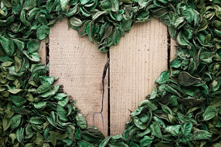 heart frame made of leaves on wooden background photo