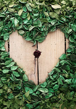 dissolution: sear rose in the middle of heart shape made of leaves on wooden background