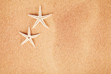 seasonal concept with two starfishes on sand photo