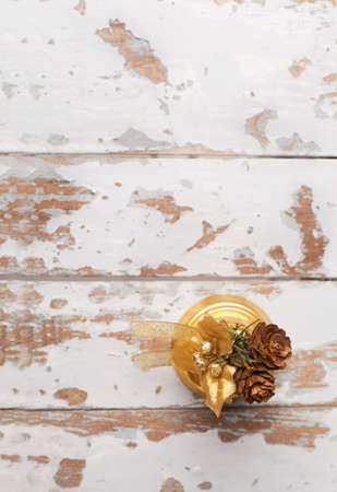 top view of christmas bell on white ol wooden background Stock Photo - 23148605
