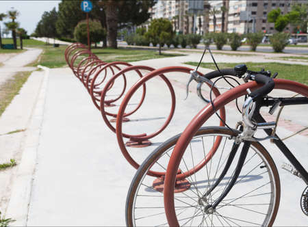 urban environment: bicycle parking rack in the urban environment Stock Photo