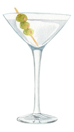 watercolor hand drawn martini cocktail with green olives isolated on white background