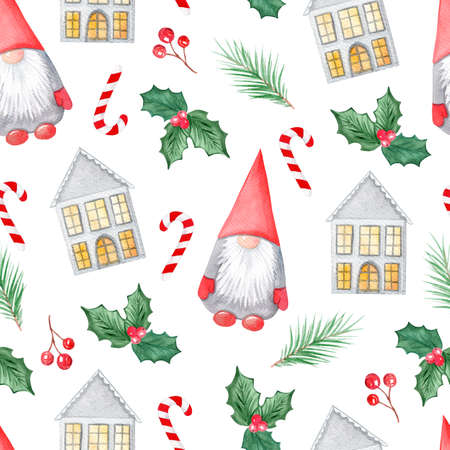 watercolor christmas gnome and houses with holly branches seamless pattern on white background. For fabric, textile, wrapping, wallpaper, scrapbook Reklamní fotografie