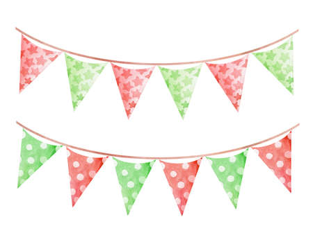 watercolor red green christmas party flags garland set isolated on white background. For holiday decoration, new year greeting cards