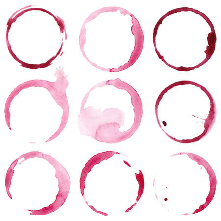 Watercolor wine stains set on paper isolated on white background