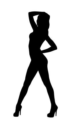 Vector sexy woman silhouette on high heels isolated on white background. Lady dance