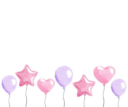 Watercolor pink balloons border isolated on white
