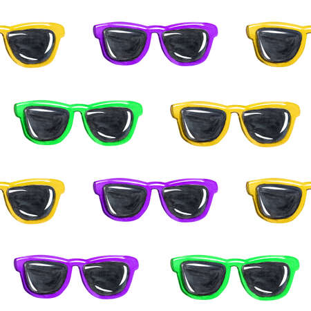 watercolor yellow purple green sunglasses seamless pattern on white background for fabric, textile, scrapbooking, wrapping paper. Color hipster glasses Zdjęcie Seryjne