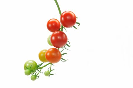 sucks: Cherry tomatoes on a white background Stock Photo