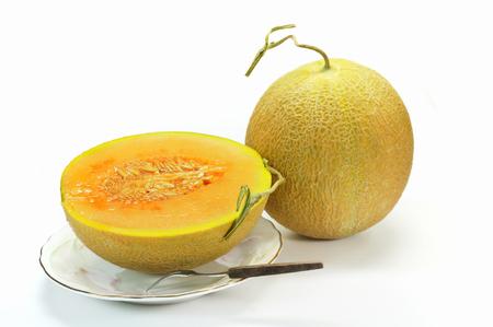 Yubari melon on a white background