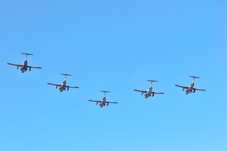 The c-1 transport plane flying in formation