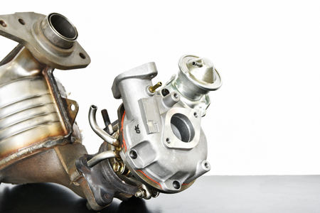 Exhaust system parts of turbo engine Stock Photo