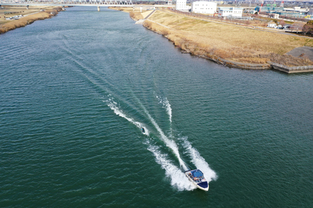 Taken by the drone wakeboarding Banque d'images