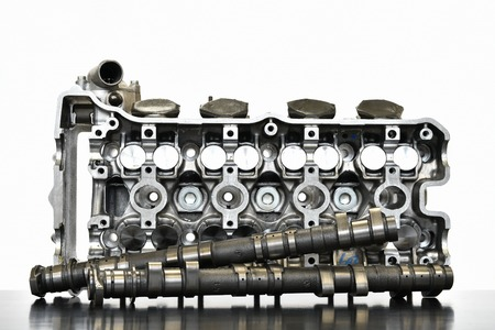 Motorcycle engine cylinder head Stock Photo