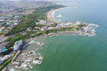 Aerial view of Inubozaki lighthouse 写真素材