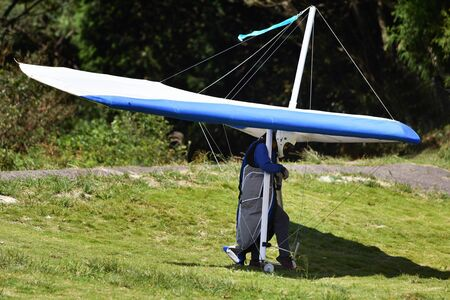 Hang glider before takeoff