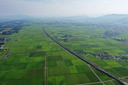 Aerial view of the countryside of Niigata Prefecture