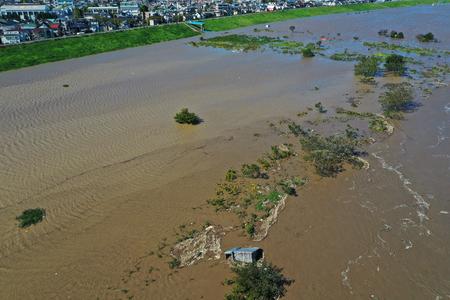 Edogawa flooded by typhoon 報道画像