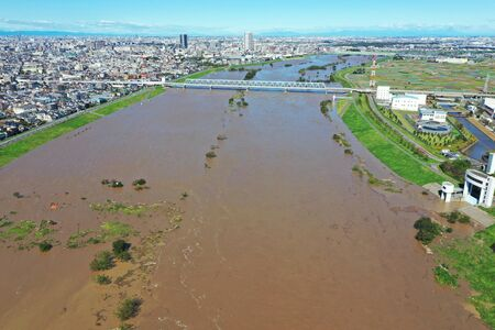 Aerial photography of the swollen Edogawa River