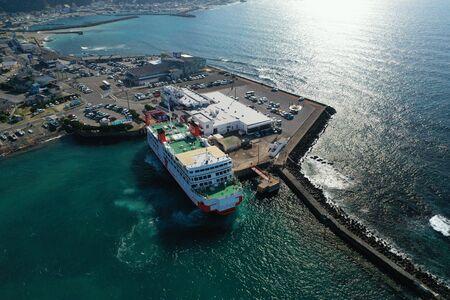 Aerial photography of Kanaya Port in Chiba Prefecture 版權商用圖片 - 138288037