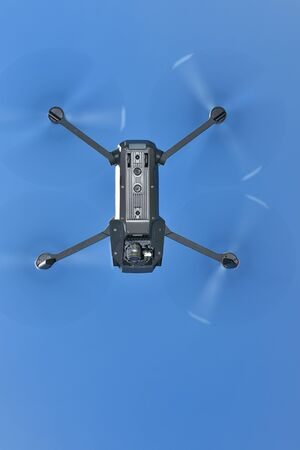 -Sky imaging of small drones Stock Photo