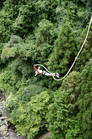 Man Bungee Jumping