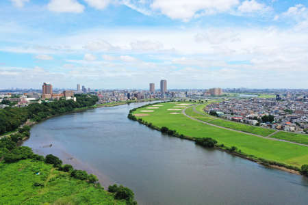 Aerial photography over the Edo River