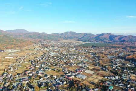 Aerial photograph of Oshino village, Yamanashi Prefecture