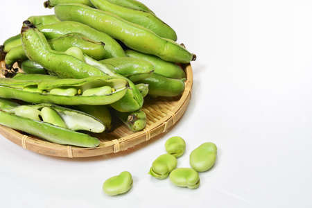 Harvested broad beans Stockfoto