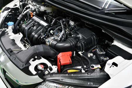 Car engine room under maintenance