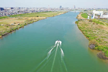 Scenery over edogawa photographed by drone