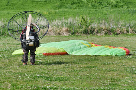 Motor paraglider ready for takeoff