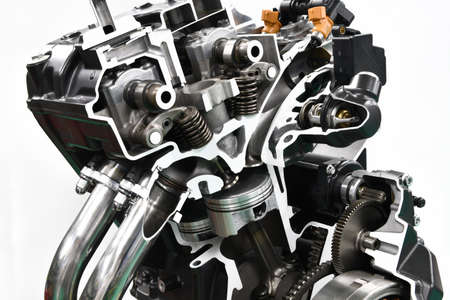 Cut models of automobile engines