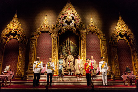 Nakhonpathom, THAILAND - MAY 27,2016: The Royal Images of Chakri Dynasty Kings of Thailand was show at Thai Human Imagery Museum on May 27,2016 in Nakornprathom,Thailand Editorial