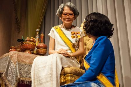 dynasty: Nakhonpathom, THAILAND - MAY 27,2016: Wax Figures Somdech Phra Srinagarindra Boromarajajonani and Her Royal Highness Princess Galyani Vadhana, at Thai Human Imagery Museum.