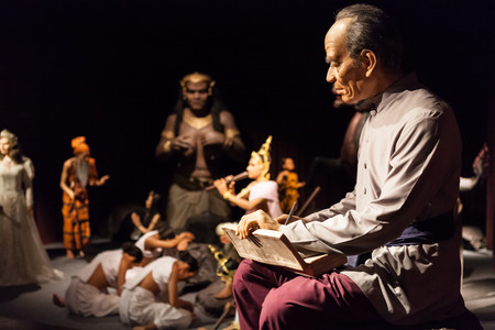Nakhonpathom, THAILAND - MAY 27,2016: Wax FiguresSunthorn Phu. A World Poet and the Best Beloved Bard of Thailand at Thai Human Imagery Museum.The Legend of Phra Abhaimani by Sunthorn Phu Editorial