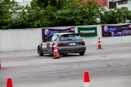 drifting: CHIANGMAI, THAILAND - MAY 29 2016: An unidentified driver performs a drifting competition in the Gymkhana X Pro Northern
