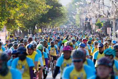 adulyadej: CHIANGMAI, THAILAND - DECEMBER 11-2015 : People joining an event Bike for Dad to celebrate the 88th birthday anniversary of His Majesty King Bhumibol Adulyadej on December 11, 2015 in Chiang mai.