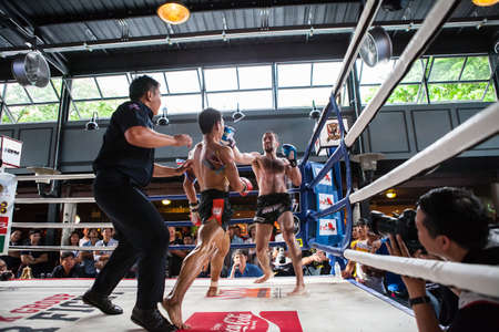CHIANGMAI , THAILAND - JUN 18 2016: Unidentified players in Muaythai  Warmup PK group Super Fight