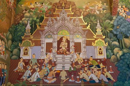 CHIANGMAI , THAILAND - AUG 23 2016: Mural painting of the Chiang mai History at Wat Chedi Luang Varavihara in Chiang Mai, Thailand. Editorial
