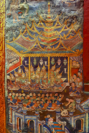 The Ancient painting of buddhist temple mural at Wat Phra sing. Editorial