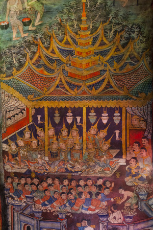 The Ancient painting of buddhist temple mural at Wat Phra sing. Stock Photo