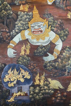 derived: Scene from the Ramakien at Wat Phra Kaew temple. The Ramakien is national epic, derived from the Hindu epic Ramayana.