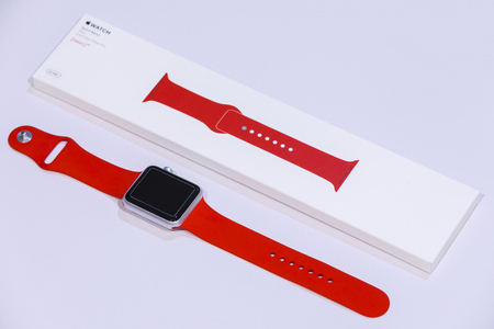 CHIANGMAI, THAILAND - AUG 1 2017: Close-up Apple Watch Sport 42mm Silver Red Product Sport Band